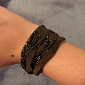 Jewelry - Suede & Chain Brown Bracelet
